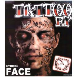 Tattoo de Cyborg para la cara, Complemento Disfraz