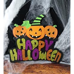 Colgante 'Feliz Halloween' Calabazas con Purpurina