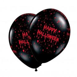 Pack 10 globos negros 'Happy Halloween'