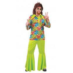 Disfraz de hippie verde para adulto
