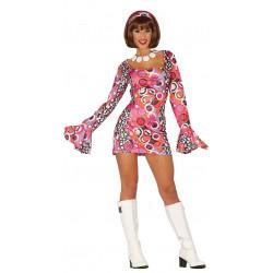 Disfraz de disco night adulta. Vestido de Hippie rosa de los años 60's