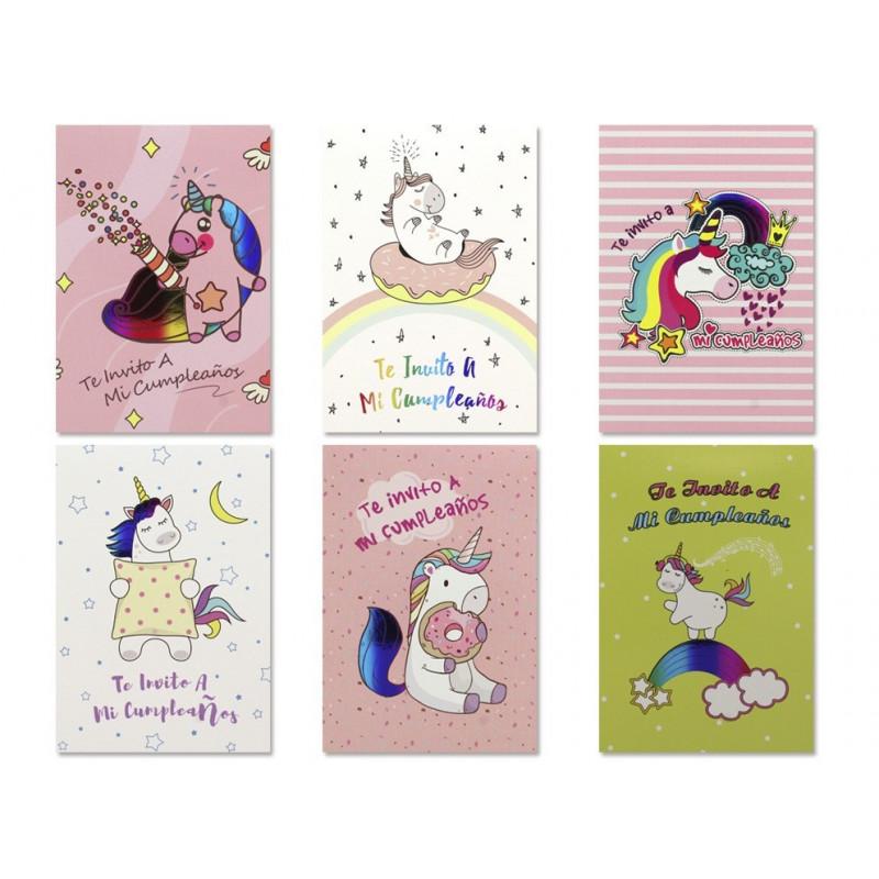 Set De Tarjetas De Invitación Unicornios Bazar Chinatown