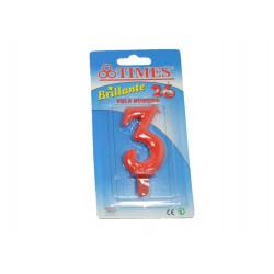 Vela de Cumpleaños No.3 Roja