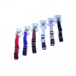 Collar de nylon liso para mascotas, 2.5*48/70cm