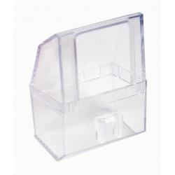 Comedero rectangular de plástico transparente