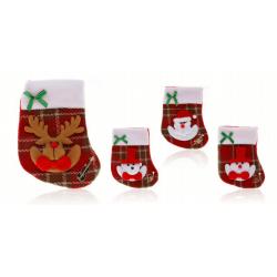 Adorno calcetín navideño con muñeco