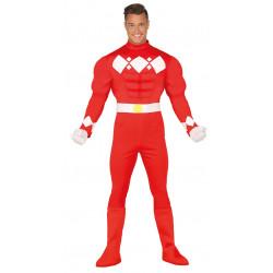 Disfraz de guerrero rojo musculoso adulto. Disfraz de power ranger rojo para adulto