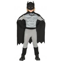 Disfraz superheroe musculoso infantil. Disfraz de Batman gris para niño