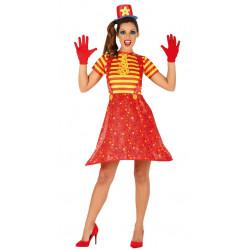 Disfraz de payasa roja adulta. Vestido de payasita adulta