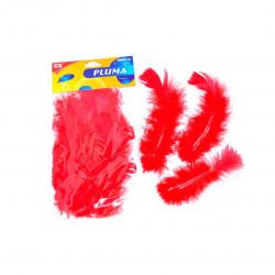 Set de 20 plumas rojas para manualidades. 15 cm