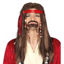 Peluca pirata con perilla y rastas - Peluca Jack Sparrow