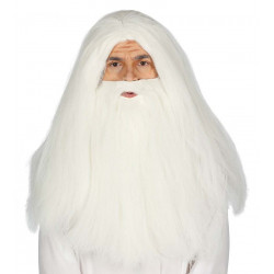 Peluca de mago con barba - Peluca y barba de hechicero