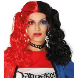 Peluca de Coletas Roja / Negra - Peluca Harley Quinn Injustice