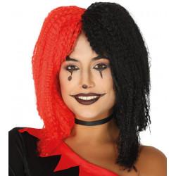 Peluca Rizada Roja / Negra - Peluca Harley Quinn