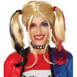 Peluca Rubia con Coletas Roja / Negra - Peluca Harley Quinn Injustice