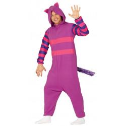 """Disfraz pijama de gato lila para adulto. Disfraz de gato sonriente """"Alicia en el país de las maravillas"""""""