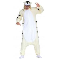Disfraz de gato blanco para adulto. Pijama de tigre blanco