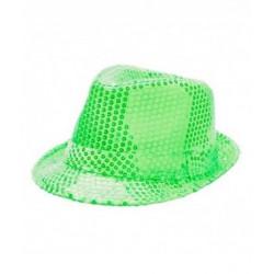 Sombrero Gángster con Lentejuelas Verde Fluorescente - Sombrero de Fiesta