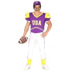 Disfraz de quarterback morado adulto. Disfraz de jugador de rugby para adulto