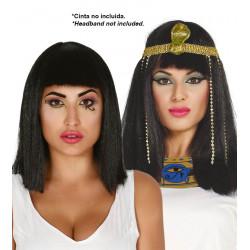Peluca Egipcia de Cleopatra - Peluca Lisa con Flequillo