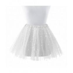 Tutú con Estrellas Infantil, Blanco - Falda de Tul 30cm