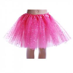 Tutú con Estrellas Infantil, Fucsia - Falda de Tul 30cm