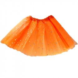 Tutú con Estrellas Infantil, Naranja - Falda de Tul 30cm