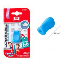 Agarre azul de silicona para lápiz y bolígrafo