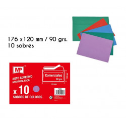 Pack 10 sobres de colores autoadhesivos 176 x 120 mm