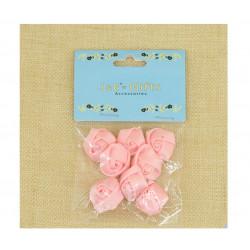 Flores de Tela con Adhesivo para Recuerdos Rosa
