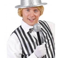 Micrófono con escarcha plata