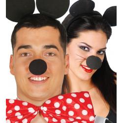 Nariz negra de espuma. Nariz de ratón Mickey Mouse