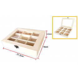 Caja o Cofre de Madera con Tapa de Vidrio de 21.5 x 18 x 4.8 Cm