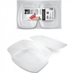 Envase rectangular 2Lts con tapa bisagra. Fiambrera usar y tirar