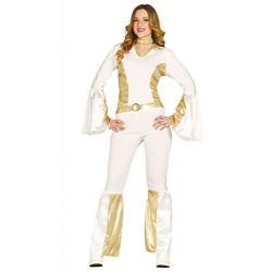 Disfraz de popstar años 80's. Disfraz de ABBA para adulta