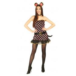 Disfraz de ratoncita rosa adulta. Vestido de ratón para mujer