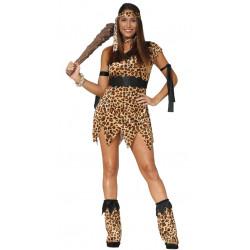 Disfraz de troglodita adulta. Vestido de cavernícola para mujer