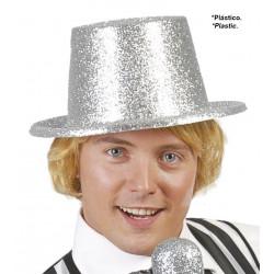 Sombrero chistera escarcha plata. Chistera con purpurina plata