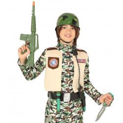 Conjunto militar infantil. Casco + Metralleta + Armas