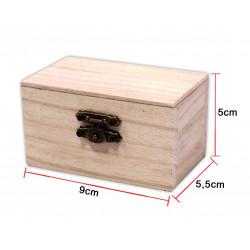 Caja de Madera Rectangular Pequeña. Cofre de madera para bisutería