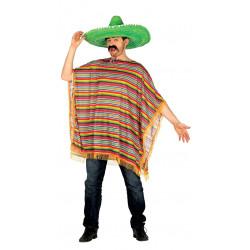 Disfraz de poncho mexicano para adulto