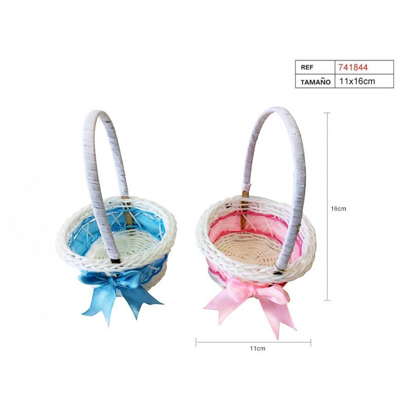 Detalles Para Bautizo Con Foto.Cesta Baby Rosa Azul Celeste Detalles Para Bautizo