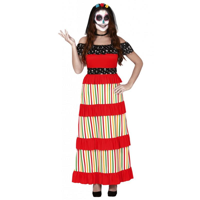 Disfraz De Día De Los Muertos Adulta Vestido Catrina Para Mujer