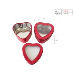 Cajita roja de lata en forma de corazón para regalos y celebraciones