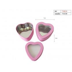 Cajita rosa de lata en forma de corazón para regalos y celebraciones