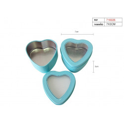 Cajita azul de lata en forma de corazón para regalos y celebraciones