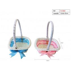 Cesta baby para bautizo y comunión, 16 cm, rosa / azul