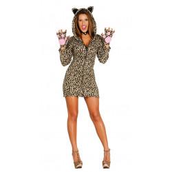 Disfraz de leoparda adulta. Vestido de tigresa para adulta