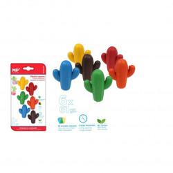 Ceras plástica de Cactus colores surtidos,6 unidades