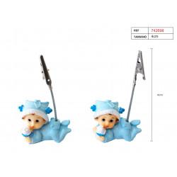 Figura bebé azul porta-tarjetas para bautizo